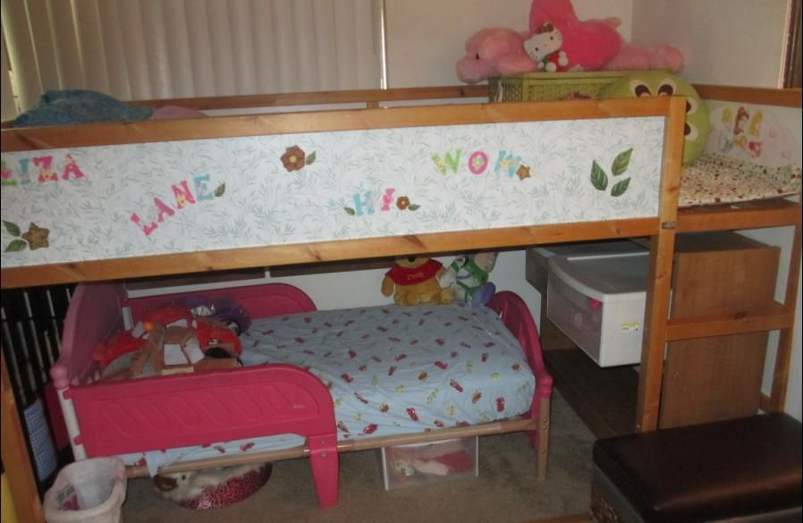 We Fit A Toddler Bed Under A Kura Loft Bed We Covered The Sides Of The Bed With Green And White Contact Paper Bed Storage Bed Design Loft Bed