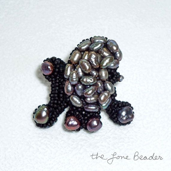 Tiny Beaded Black FRESHWATER PEARL POODLE Lapel By