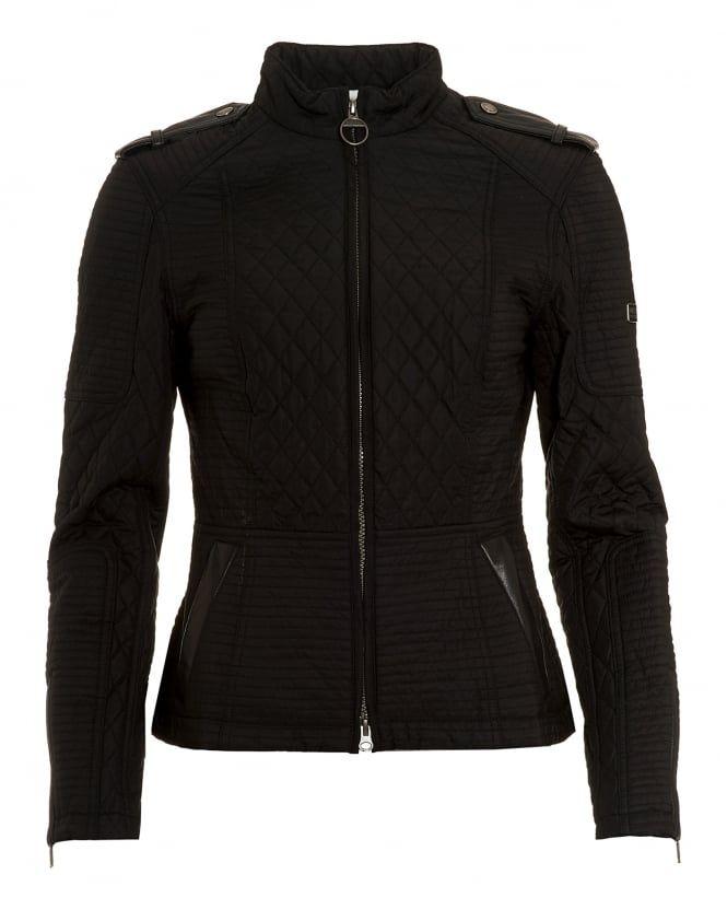 93aa7e4b6baa0 Barbour International Black Streak Womens Extractor Biker Jacket ...