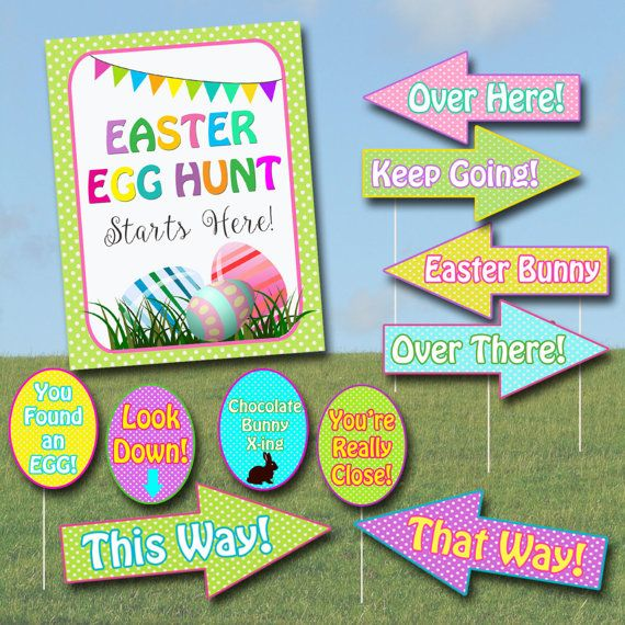 photo regarding Printable Yard Signs identified as Easter Egg Hunt Signal Package, Printable Egg Hunt Arrows, Easter