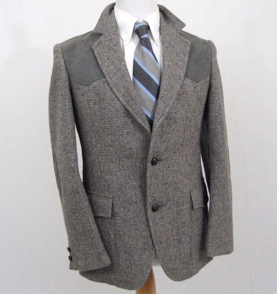 Pendleton Western Blazer 38R Tweed Fleck Shoulder Elbow