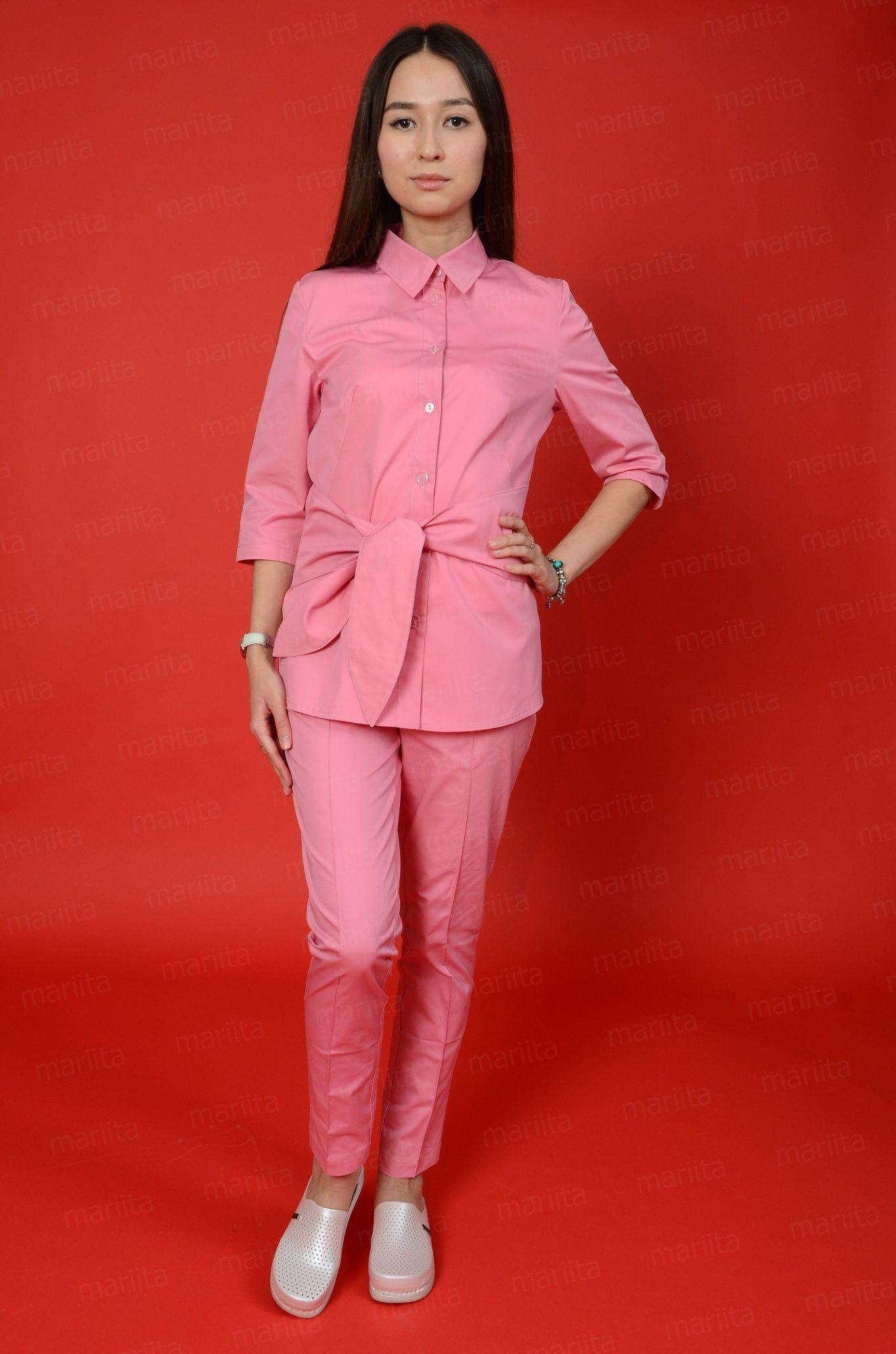 590e5ca21c3 Медицинский костюм состоит из  Блузы-рубашки с вшитым поясом по линии  талии