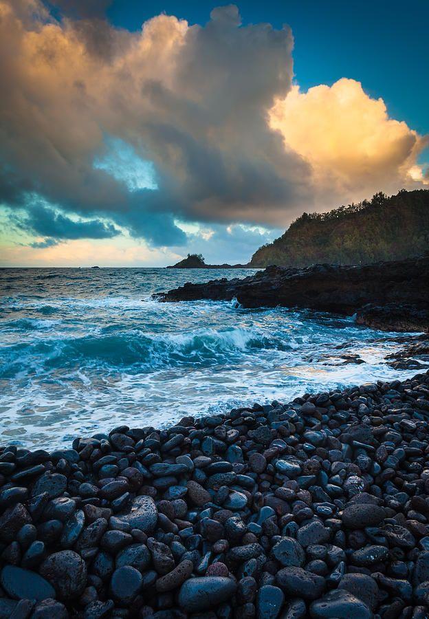 ✯ Predawn glow over Hana Bay on the northeast coast of Maui, Hawaii, in the town of Hana