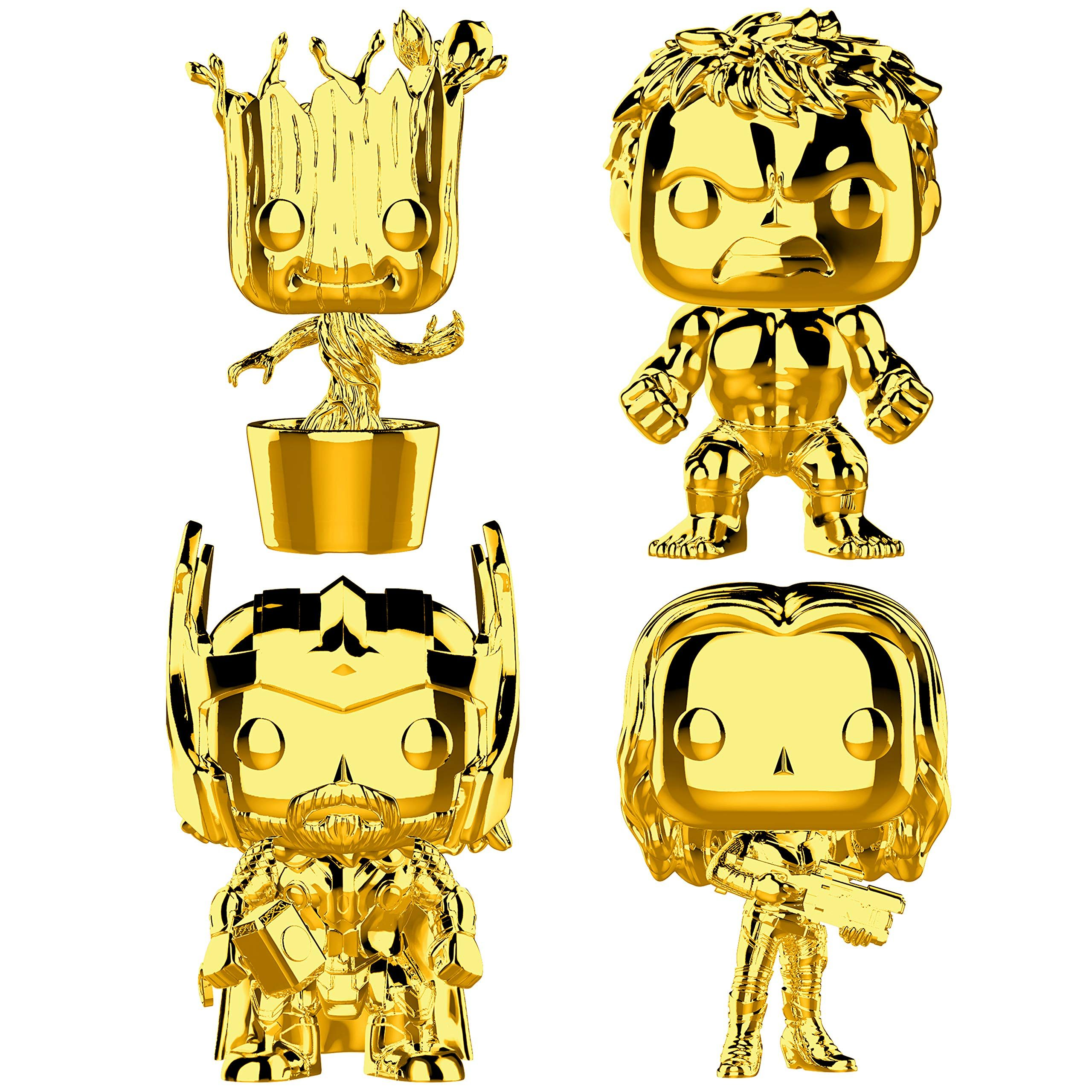 Funko Marvel Pop Marvel Studios 10 Gold Chrome Collectors Set 3 Groot Hulk Thor Gamora Toy Click Image To Review In 2020 Vinyl Figures Marvel Studios Funko