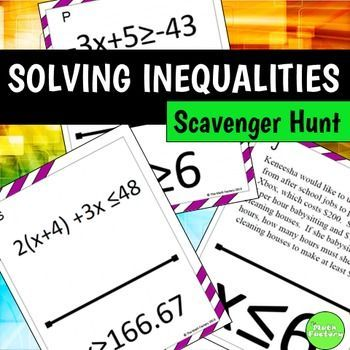 Students Practice Solving Inequality Word Problems And Equations But Instead Of Just Sitting At Th Solving Inequalities Word Problems Inequality Word Problems