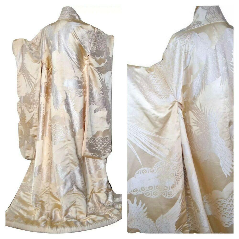 Huge Sale 75 Off And Free Shipping Japanese Wedding Kimono Silk Uchikake Nishiki Overcoat With Mythi Wedding Kimono Japanese Wedding Kimono Japanese Wedding