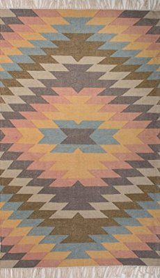 Addison and Banks Indoor-Outdoor Tribal Pattern Polyester Area Rug, 2 by 3-Feet, Dusty