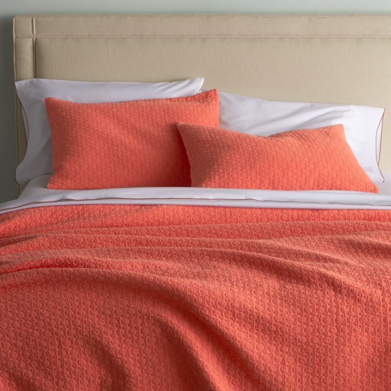 Dottie Coral Bed Linens | Crate and Barrel | bedroom | Pinterest ... : coral quilt queen - Adamdwight.com