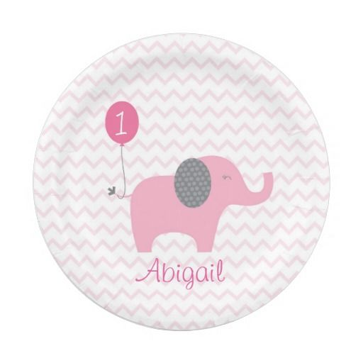 Pink Elephant Chevron Paper Plates 7 Inch Paper Plate  sc 1 st  Pinterest & Pink Elephant Chevron Paper Plates 7 Inch Paper Plate | Personalized ...