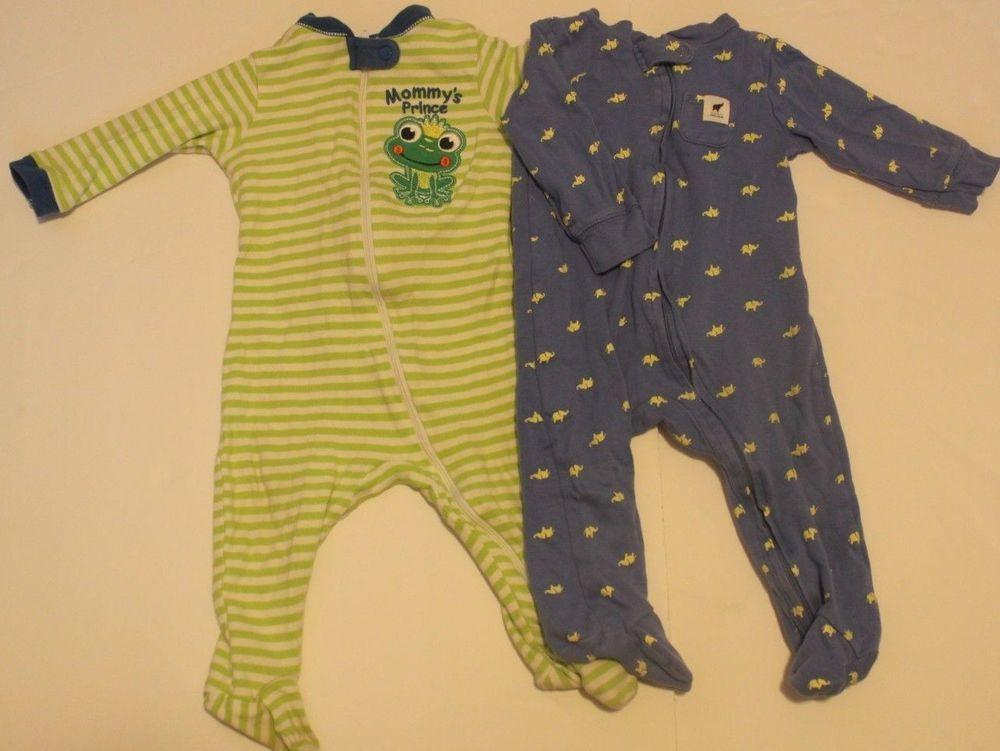 776f7c07f977 Baby Boy Pajama Lot Of 2 Long Sleeve Footed Pajamas 6-9 Months Warm ...