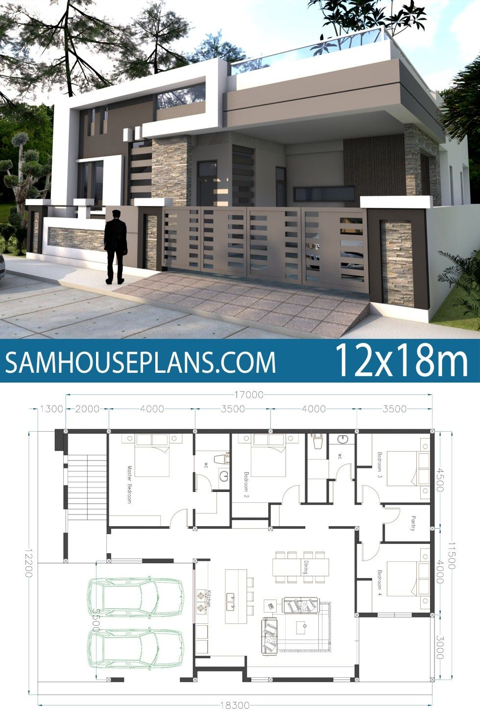 Home Design 40x60f With 4 Bedrooms Sam House Plans Small Modern House Plans Single Floor House Design House Layouts