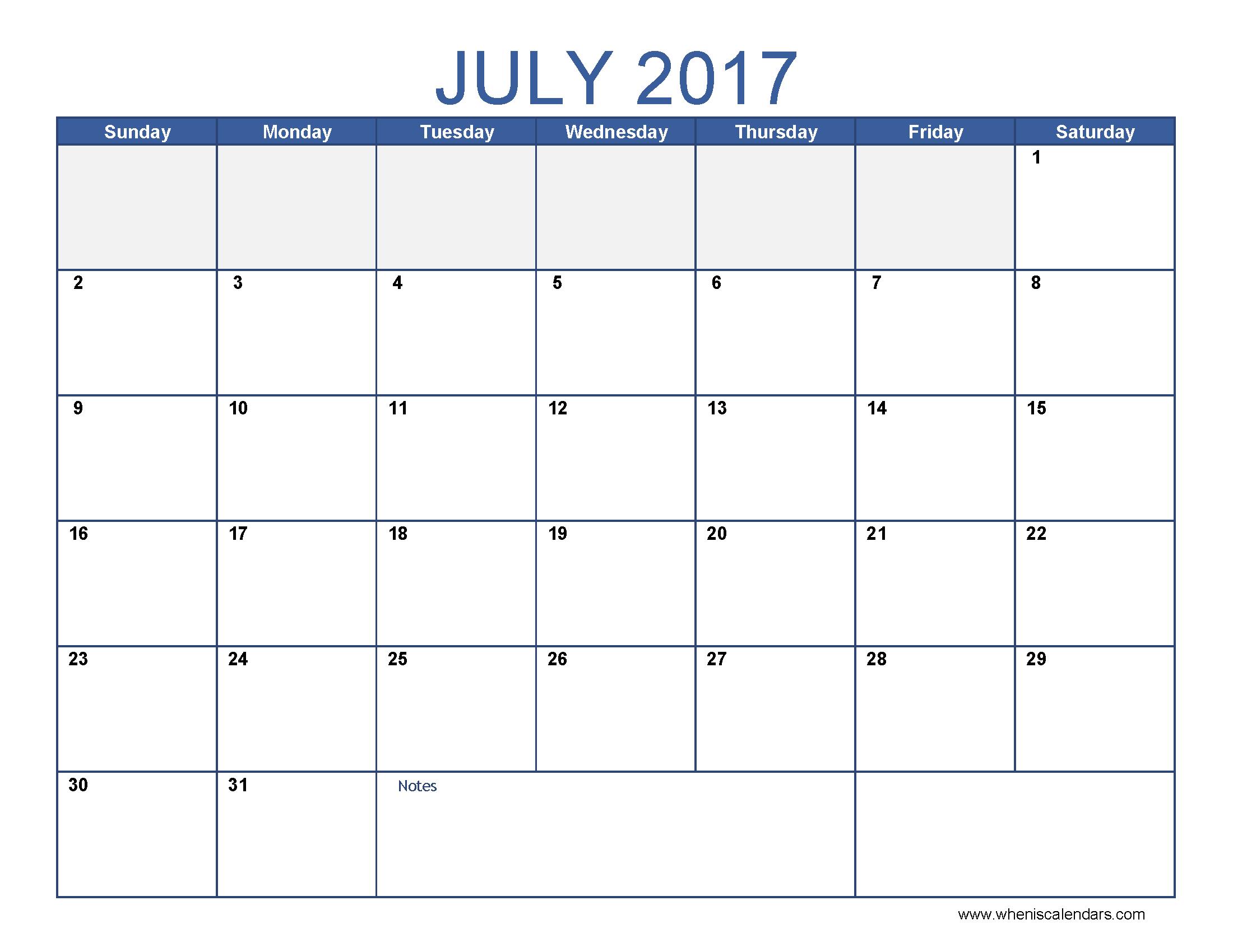 2017 july calendar template july 2017 calendar pinterest