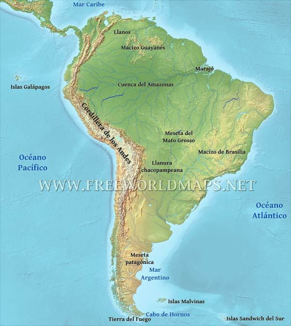 Mapa Fisico De Sudamerica World South America Map