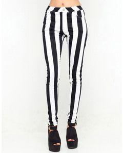 Motel Rocks Motel Skinny Jordan Jean in Black and White Stripe