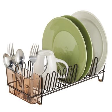 mDesign Compact Metal Kitchen Sink Dish Drying Rack, Stone/Clear, 12.5 x 5.5 x 4 #dishracks