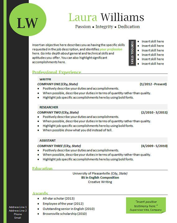 Job Specific Resume Templates Resume Template  Cover Letter Template Thelivengooddesigns  Pd .