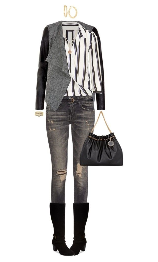 """Blouse For Fall"" by ittie-kittie ❤ liked on Polyvore featuring R13, Seychelles, H&M, Betsey Johnson, Elgin and STELLA McCARTNEY"