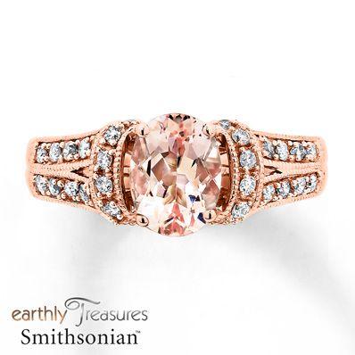 Morganite Ring 38 ct tw Diamonds 14K Rose Gold Jared The Galleria