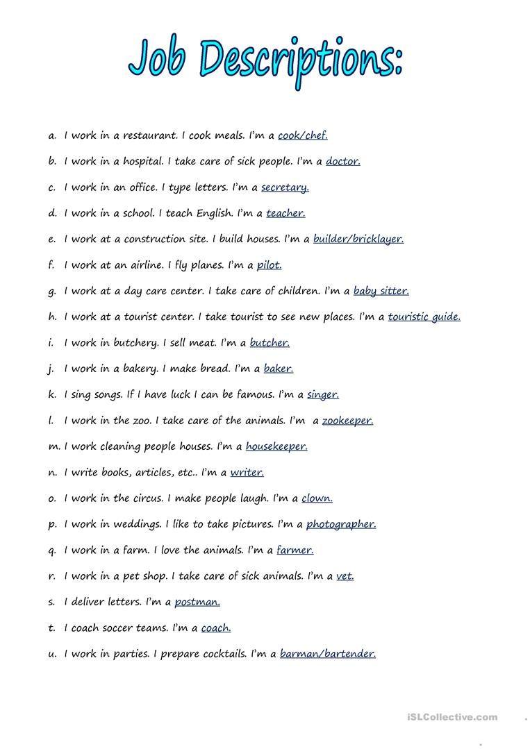 Jobs Descriptions Worksheet Free Esl Printable Worksheets Made By Teachers Job Description Fun Quiz Questions Teaching English [ 1079 x 763 Pixel ]