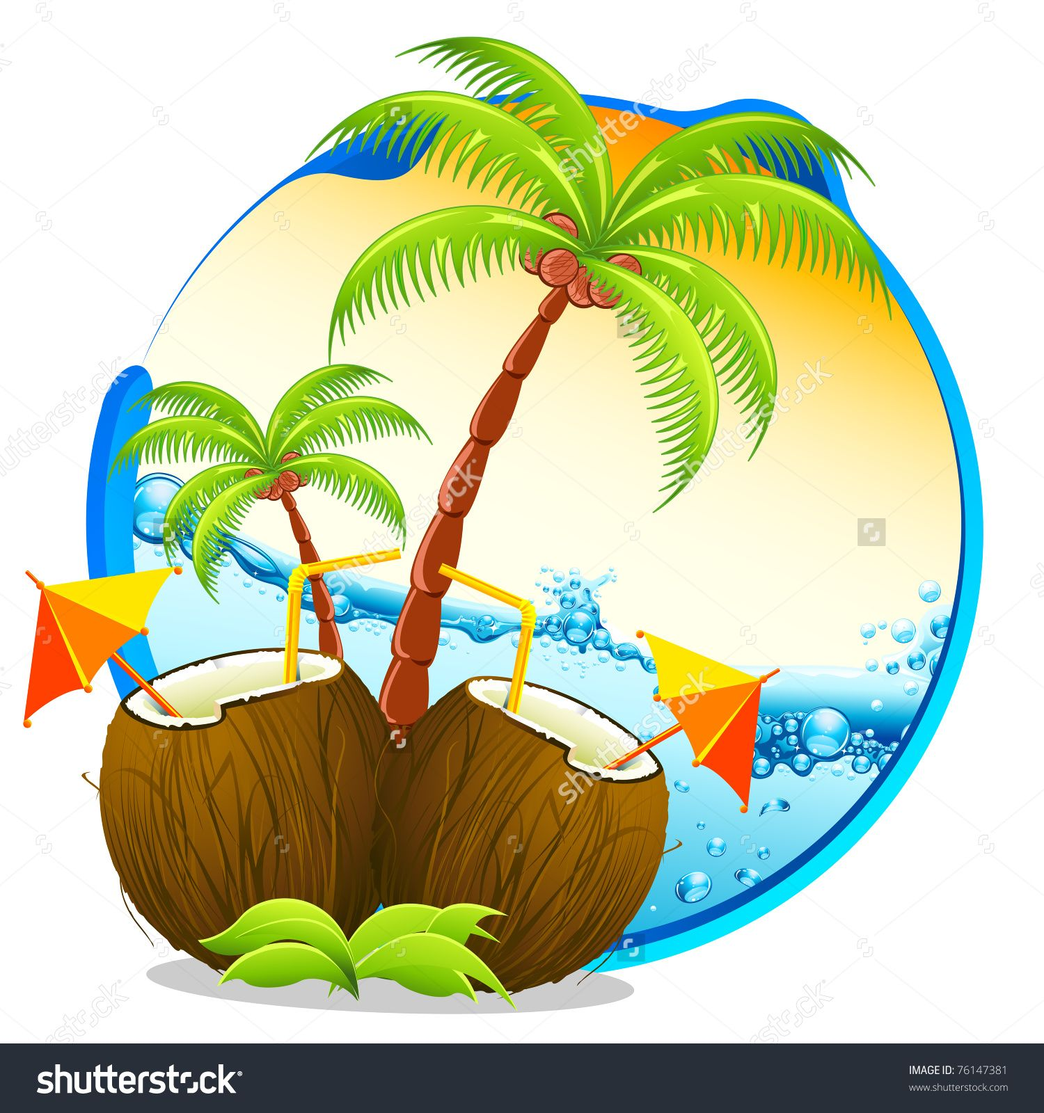 Illustration Of Coconut Cocktail With Palm Tree On