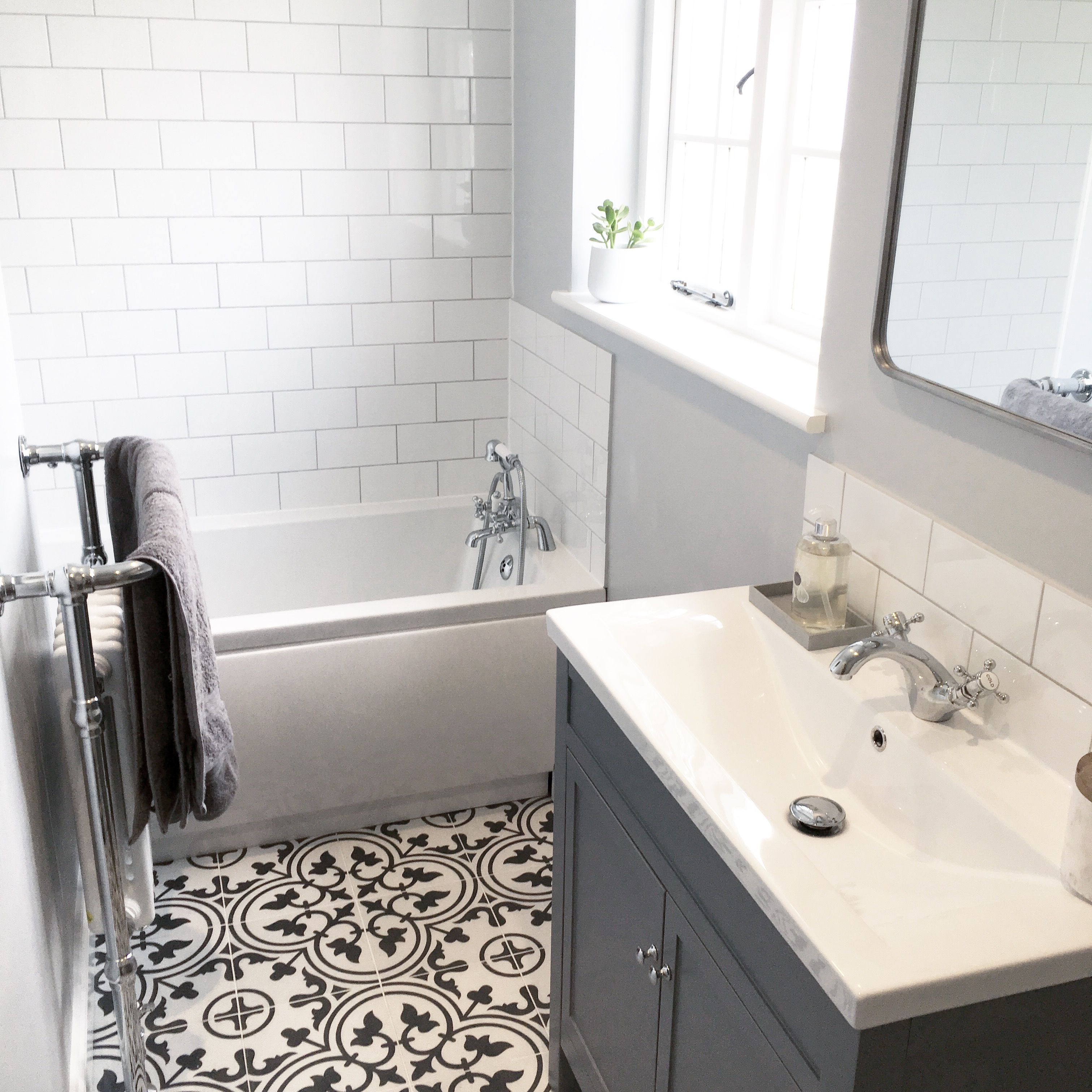 Grey Bathroom White Metro Tiles With Black And White Floor Tiles