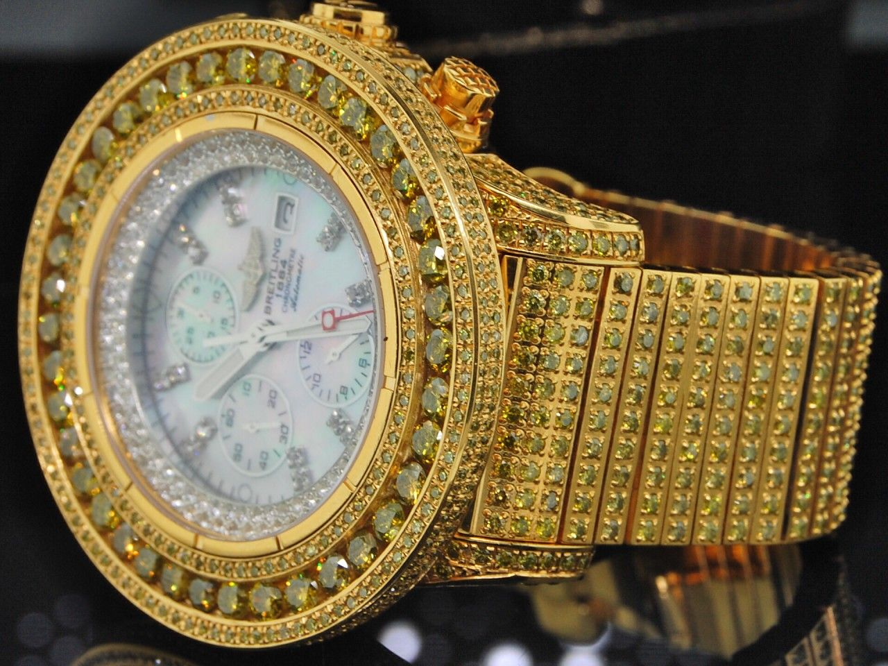 men custom breitling yellow diamond watch super avenger custom men custom breitling yellow diamond watch super avenger