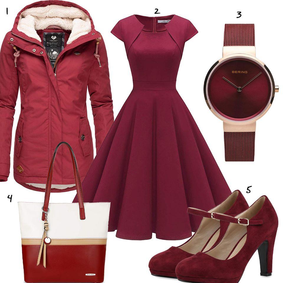 weinrotes damenoutfit mit kleid und winterjacke   outfit