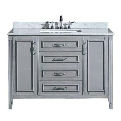 Madison 48 In Vanity Gray With Marble Top Carrara White Pemadison48