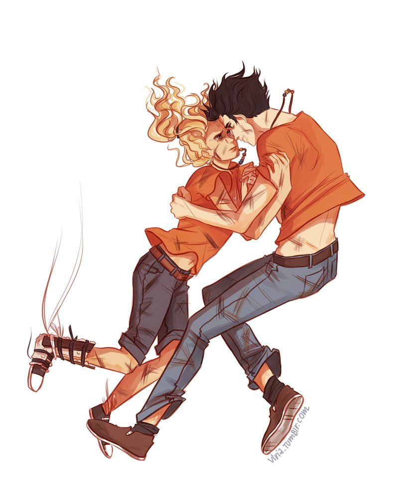 Percabeth falling into Tartarus by viria13 on DeviantArt - If I fall, you fall.