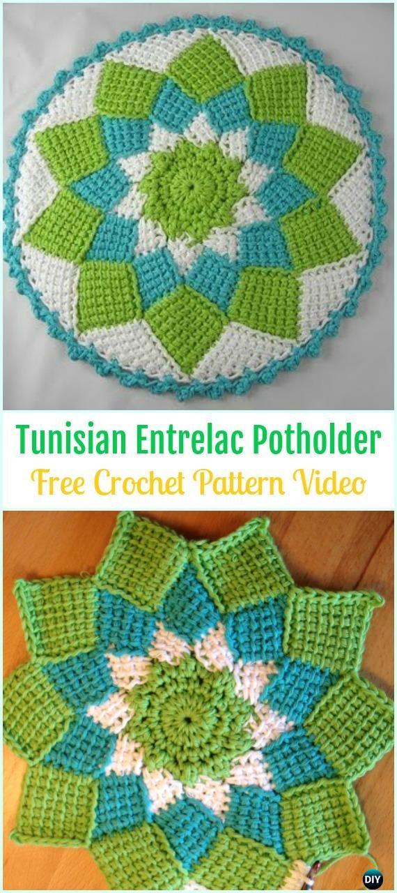 Crochet Tunisian Entrelac Potholder Free Pattern Video - Crochet Pot ...