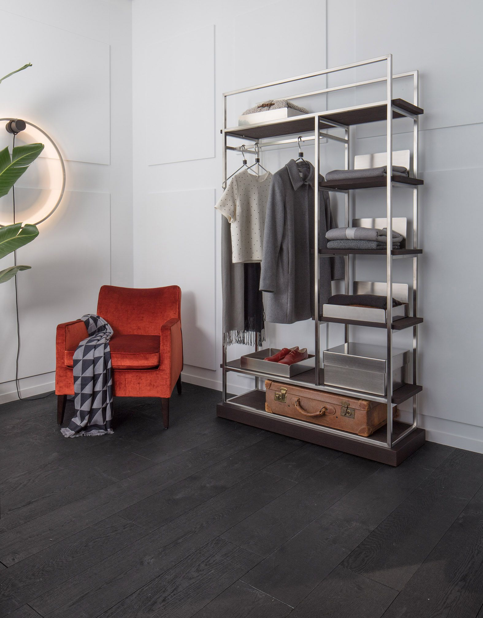 bronxx regal garderobe in edelstahl mit b den in holz wenge pandora sessel by christine kr ncke. Black Bedroom Furniture Sets. Home Design Ideas