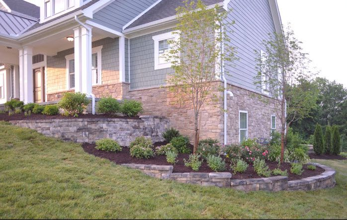 Pin By Trisha Faber On An Outdoor Space Sloped Backyard Farmhouse Landscaping Home Landscaping