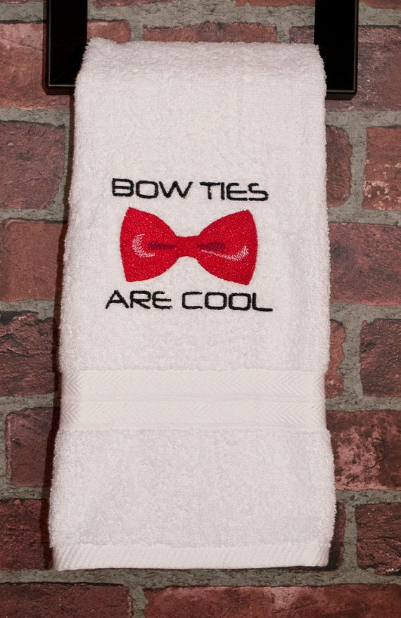Dr Who Bow Ties Are Cool By QuantumStitching Geek Embroidery Doctor Who  Home Decor Doctor Who Towel Geek Bathroom