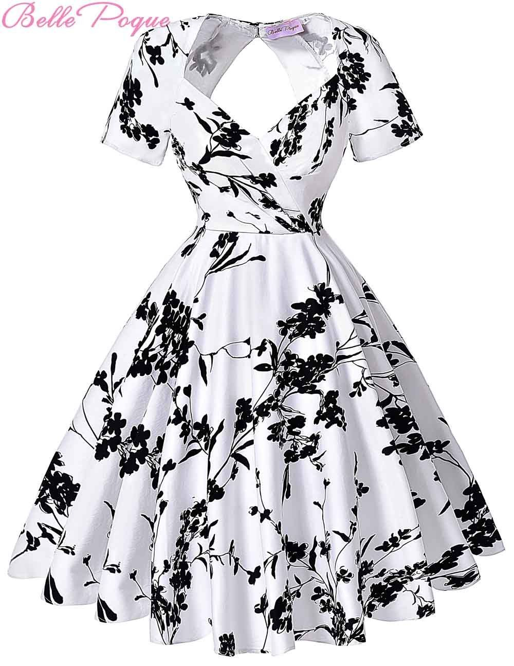Short Sleeve Floral Print 50s Vintage Dresses Retro Swing Pinup Dance Dress  Plus Size Rockabilly Dress BP000028 Alternative Measures 7af869c6dc68