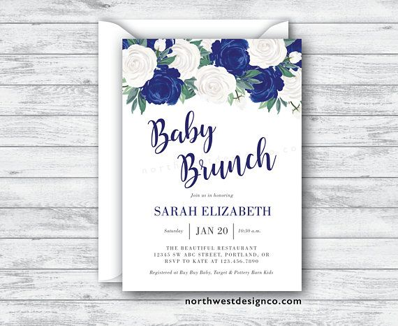 navy floral baby brunch invitation baby shower invite white rose