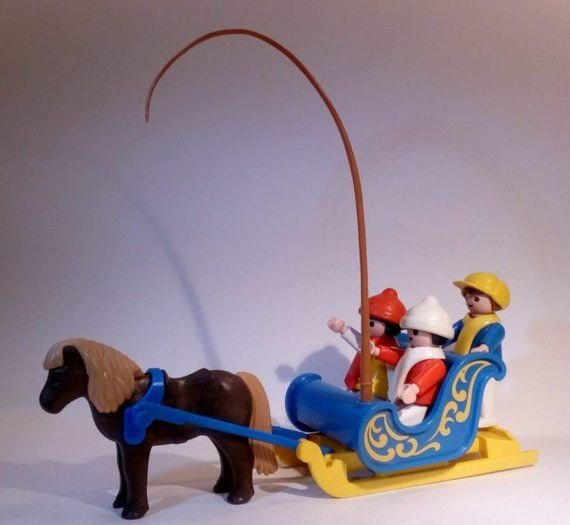 PLAYMOBIL/ Traîneau attelage poney enfants / 3391-A / 1984 /Vintage