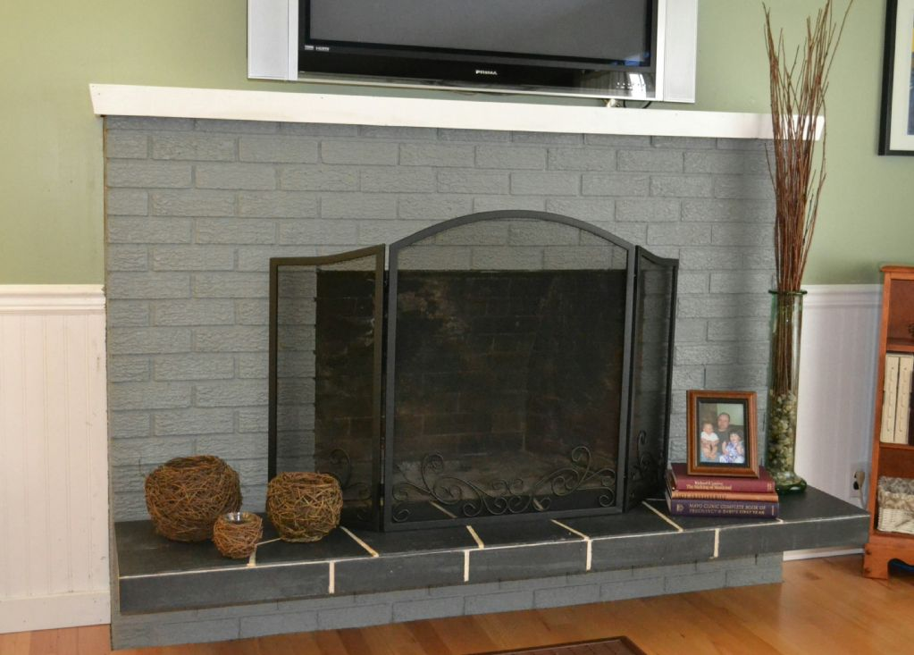 Roman Brick Fireplace Hearth Ideas Gray Painted Brick Fireplace After Being Painted Hearth