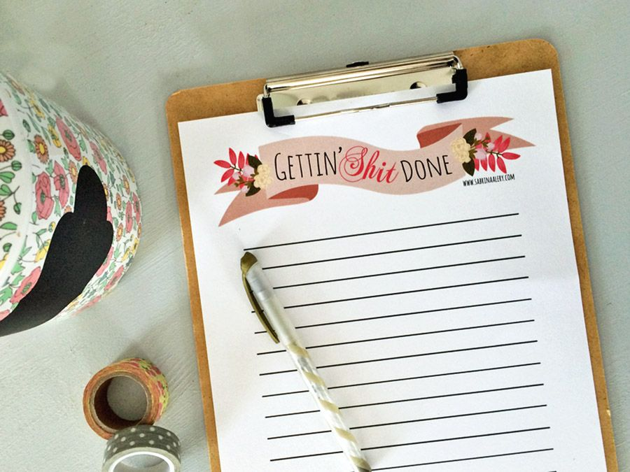 free printable to do list  get shit done  and for those