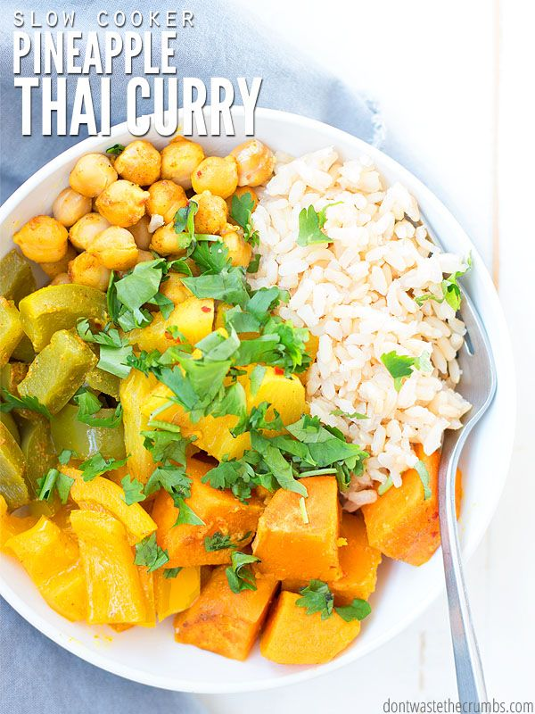 Slow Cooker Thai Pineapple Vegetarian Curry Dont Waste The