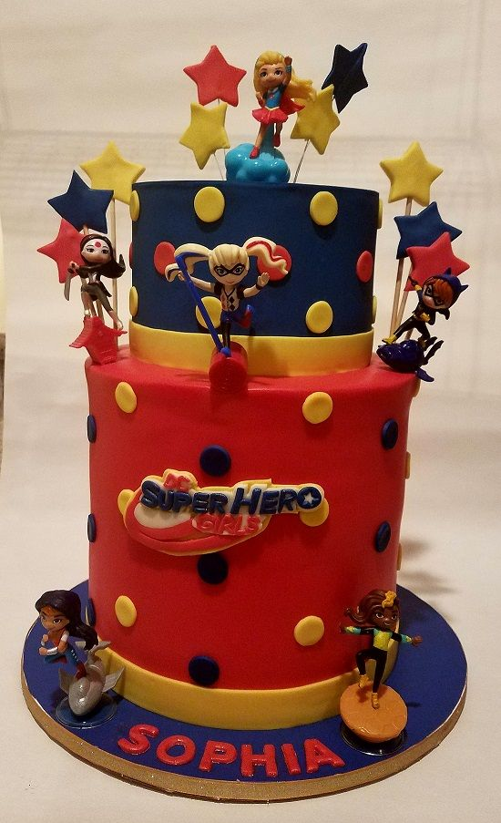 Adorable Girl Superhero Themed Birthday Cake This Cake Made One