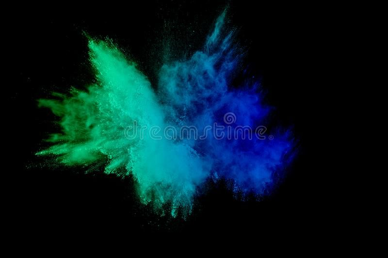 Green Blue Color Powder Explosion Cloud Isolated On Black Background Stock Images Color Powder Color Dust Black Backgrounds