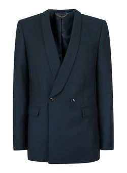 Teal Double Breasted Skinny Fit Wool Suit Jacket