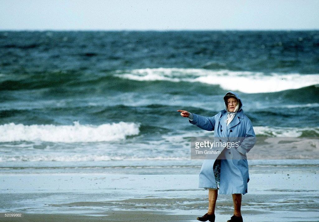 Queen Mother On Holiday In Norfolk.