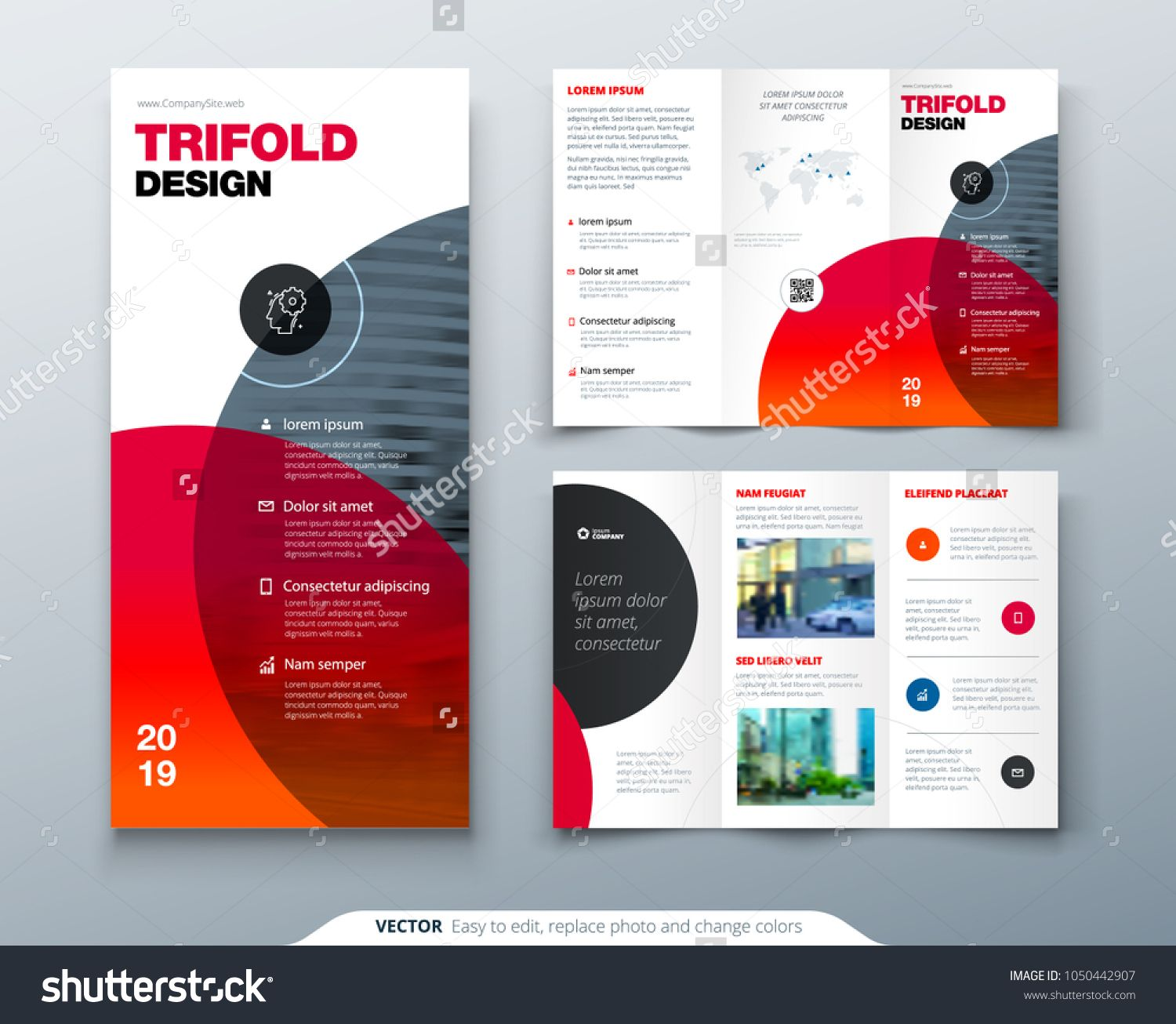 Tri Fold Brochure Design Business Template For Tri Fold Flyer Layout With Modern Circle Photo Trifold Brochure Design Brochure Design Free Brochure Template
