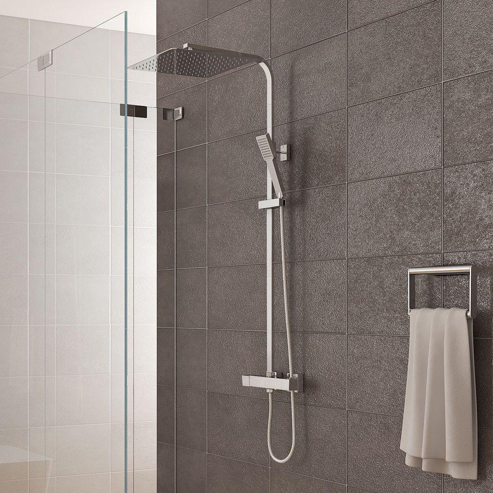 Details zu Duschsystem inkl. Thermostat Duschkopf 30x30cm