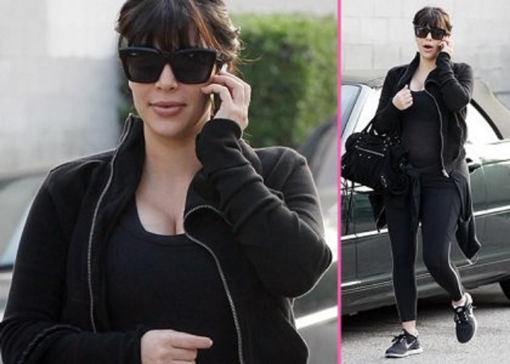 Kim Kardashian: Back to the Gym -                                     Determined to stay healthy during her pregnancy,  Kim Kardashian hit up a fitness center in Studio City, California this morning (April 5).  Chatting away on her mobile phone.