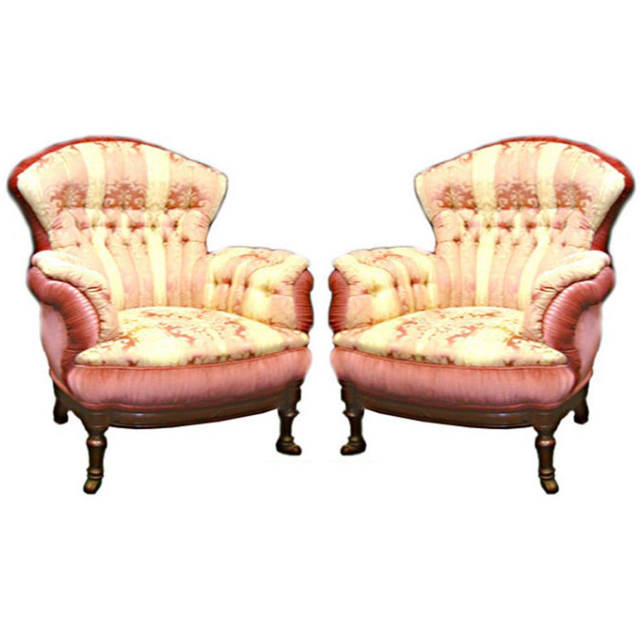 Pair of Victorian Antique Turkish Chairs & Footstools 5-5