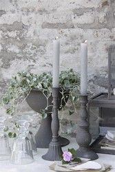 White-washed gray wall, center piece, and candle holder ~ Little Gray Cottage Decor