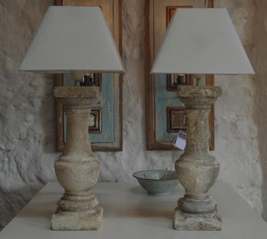 Provencal ancient stone balustrade lamps.