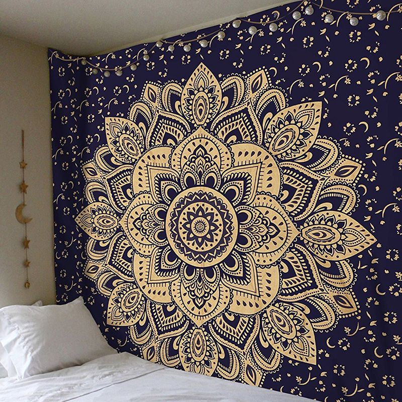 US Psychedlic White Mandala Tapestry New Wall Hanging Throw Tapestry Bedspread